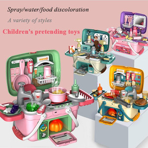 Simulated BBQ Food Cooking Color Change Suitcase Spray Kitchen Pretend Toys Children Household Set Gift For Kid
