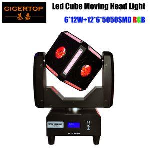 Freeshipping 90W Led Moving haz escáner Cabeza Cubo Efecto de luz de alimentación de entrada / salida del zócalo sin fin de rotación de inclinación Osram RGBW 110V-220V