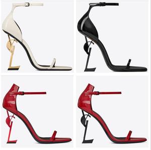 Paris Metal Lettere Lettere Alti Tacchi alti Designer di Prestigio Donne Donne Moda Sexy Open Toe Super Heel Heel Sandali da sposa Bidal Banchetto Dress Scarpe da sposa
