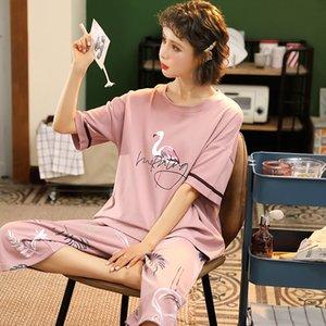 M-5XL المرأة القطن ملابس نوم مجموعات لطيف بنات الحيوان ملابس خاصة Pijamas البدلة الرئيسية الملابس طريقة بيجامة فام