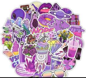 50 purple style graffiti stickers laptop luggage skateboard guitar helmet car stickers MOQ 300pcs