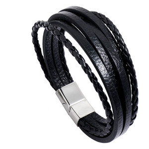 Retro leather Multi layer wrap bracelet Stainless Steel Buckle bracelets fashion mens bangle cuff wristband jewelry will and sandy new