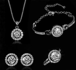 Fashion 18k Gold Silver Plateado Austrian Crystal Collar Pendientes Anillo Joyería de la boda Conjunto de mujeres