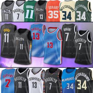 34 Giannis Durant AntetokounMPO 7 Kevin 11 Kyrie 13 Harden Irving BrooklynNETS.NCAA Milwaukee.BucksMänner Basketball-Trikots.