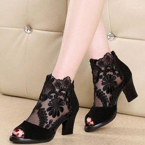 Женщины Сандалии 2020 Мода Летняя Обувь Женщины Высокие каблуки Полые сетки Сексуальные Сандалии Размер 35 - 43 Муджер Сандалиас1