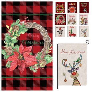 new Christmas Garden Flag Christmas Plaid Flag series pattern Banner Flags 47*32cm Christma Party Supplies Decorations T2I51677