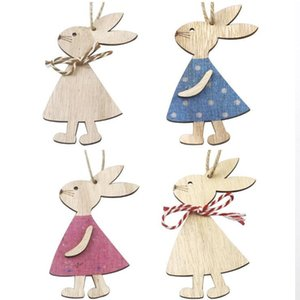 Easter Wooden Pendants Decorations Pendant DIY Carved Wooden Rabbit Hanging Pendants Ornaments Creative Wooden Craft Party Favors PPD4048-2
