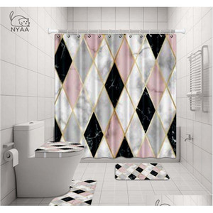 Nyaa 4 Pcs Mosaic Decoration Shower Curtain Pedestal Rug Lid Toilet Cover Mat Bath Mat Set For B qylrrS hotstore2010