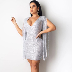 Tassel Sleeve Sequined Evening Party Dress Women V-neck Elegant Club Mini Dress Celebrity Birthday Sexy Bodycon Vestidos