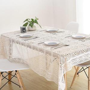 Pastoral Simples Crochet Gancho de Algodão Tabela De Algodão Branco Toalha de Tablecloth Bege para Dustproof Home Decor Retângulo Retângulo Tabela de jantar
