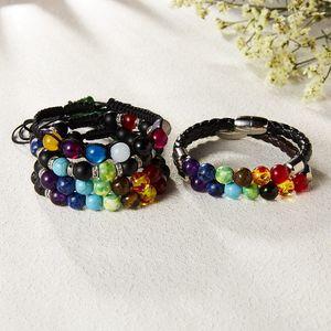 Seven Chakras Natural Stone Bracelets Fashion Volcano Stone Woven Bracelet Jewelry 4 Styles Pumice Energy Stones Bangle 8 mm Bracelet