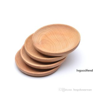 Dessert Biscuits Plate Round Wooden Plate Dish Dish Fruits Platter Dish Tea Server Tray Wood Cup Holder Bowl Pad Tableware Mat BC BH1578