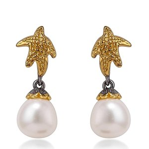 Jewelry Europe and the United States new original design hand inlaid starfish earrings S925 silver baroque pearl earrings