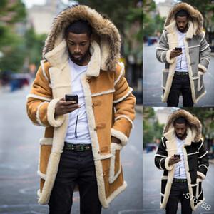 Para hombre con paneles de bolsillo de invierno de los abrigos de manga larga con capucha de la chaqueta masculina solo pecho capas largas