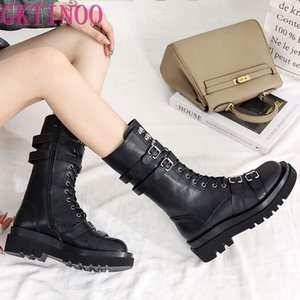 GKTINOO Genuine Leather Platform Boots Women 2020 Buckle Strap Fashion Casual Mid Calf Boots Ladies Motorcycle Women Shoes
