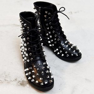 Women's Rivet Leather Ankle Boots 2020 Woman Lace Up Motorcycle Boots Ladies Zip Low Heels Female Pumps Woman Shoes