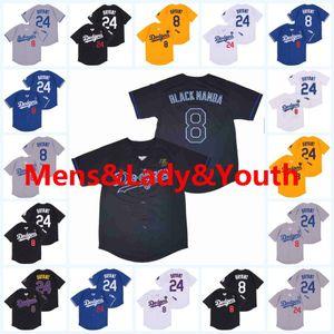 Youth Lady Mens Bryant Baseball Jersey with Number 8 24 Black Mamba Jerseys White Blue Gray Yellow