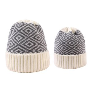 Parent-child Beanie 8 Colors Winter Warm Adult Kids Knitted Caps Outdoor Sports Beanies Plaid Wool Hats Festive Party Hats HWA2059