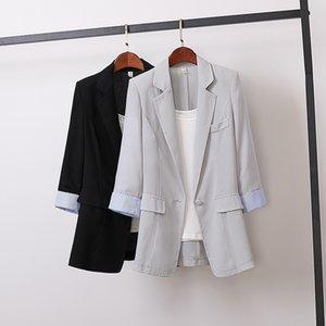 Nouveau Spring Summer Corean Cotton Linen Blazers Femmes Slim Patchwork Blazer Blazer Blazer Blazer Wear Wear Petit Bouton Manteau MW863 201103