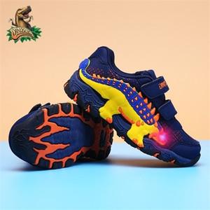 DINOSKULLS niños de luz LED calza muchachos que brilla zapatillas de tenis dinosaurio otoño transpirables corrientes de los deportes zapatos de los niños para el muchacho