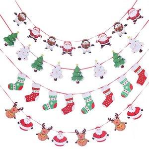 drapeau suspendu du Père Noël Drapeaux mur de Noël Hanging hôtel Ornements Décoration colorée décorée avec des scènes T2I51627