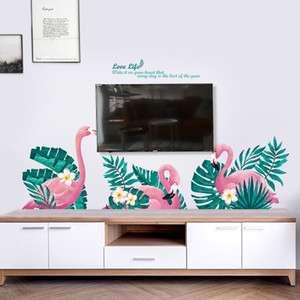 Romantic Flamingo Baseboard Wall Paper Southeast Asia ins Nordic Studio Decoration Decorative Painting Fashion Wall Stickers