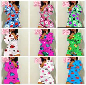 Designer Women Pajama Onesies Nightwear Playsuit Workout Button Skinny Cartoon Print Jumpsuits V-neck Short Onesies Rompers 2020