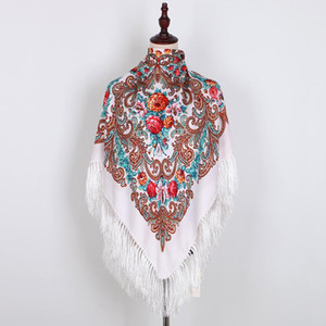 National style embroidery flower warm scarf autumn and winter warm shawl print tassel square scarf women outdoor1