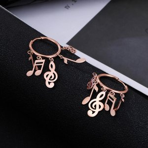 Brincos da nota da música do vintage para Mulheres Círculo geométrico Rose Gold Tassel Dangle Clipe de ouvido Hoop Aço Brinco inoxidável Jóias Nova