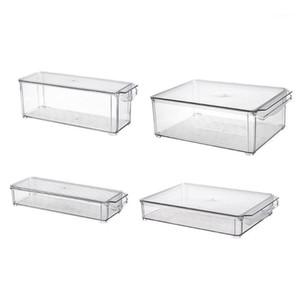 2 حزمة - صندوق حاوية التخزين الاكريليك مع غطاء ومقبض للخزانة، الثلاجة، الفريزر - منظم