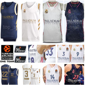 Uomini Pallacanestro Real Madrid Luka 7 Doncic maglie Carlos Alocen Anthony Randolph Felipe Reyes Sergio Rodriguez Bianco Blu Navy Kit Taylor