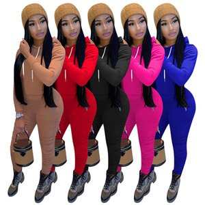 Women Tracksuit 2 Pieces Set Long Sleeve Hooded Zipper Cardigan Trousers Outfits Solid Color Ladies Sportswear Street Clothes Autumn New f25