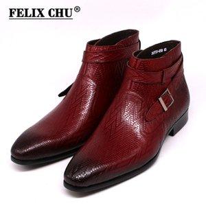 El Yapımı Erkekler Ayak Bileği Çizmeler Felix Chu Hakiki Deri Erkek Motosiklet Çizmeler Siyah Kırmızı Toka Askı Yüksek Üst Elbise Ayakkabı Erkekler 201127
