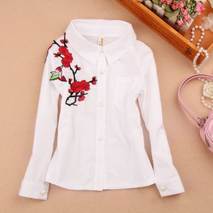 Girls Spring 2020 Shirts Cotton Turtleneck Long Sleeve White Blouse Fashion Classic Children Teenage Clothing 3-16Yrs Y200704 5EDPM