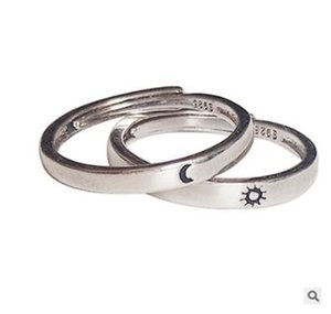 2Pcs Sun and Moon Lover Couple Rings Set Promise Wedding Bands for Him and Her