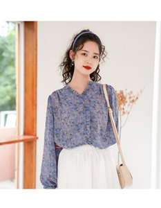 Early autumn women's clothing new Korean version loose and very fairy design floral V-neck long-sleeved chiffon shirt with wooden ears