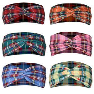 Stampato Plaid Croce Hairband Donne Sport antitraspirante Yoga fascia Accessori Plaid capelli 6 colori liberano