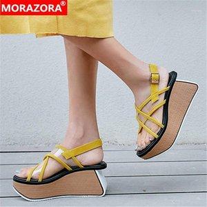 Morazora 2020 Nova Marca Moda Mulheres Sandálias Top Quality Sheepsky Party Shoes Verão Plataforma Senhoras Mulheres Bombas1