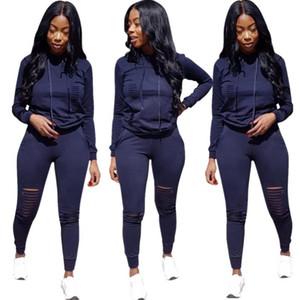 BKLD Sexy évider 2 En deux pièces Tenues 2020 Automne Hiver Casual Femmes Survêtement manches longues Sweat à capuche + Pantalons Set S-3XL