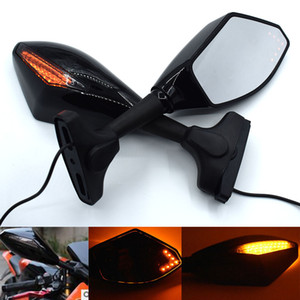 Universal Motorcycle Rear View Side Wing Mirrors w  LED Turn Signal Light For YAMAHA YZF-R25 YZF-R3 YZF R25 R3
