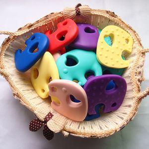 10 Farben Silikon-Elefant Beißring Dentitionspielzeug Silikon-Chew-Korn-Baby-Beißring Schnullerkette Anhänger Sinnes Chewable Spielzeug M2948