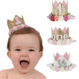 1PC Baby Girl boys Birthday Hat Happy 1st day Flower Priness Crown Headband Baby Shower Party hat decoration kids DIY gift
