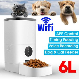 6L Large Capacity Pet Automatic Feeder Smart Voice Recorder APP Control Timer Feeding Cat Dog Food Dispenser WiFi Button Version 201109