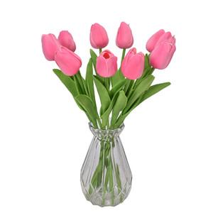 Tulips multicolores Artificielles Fleurs Arrangement Bouquets De Mariage Vraiment Senteuse Pu Tulipes pour la maison Chambre Maison de bureau Decorat 30 G2