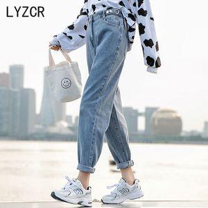 Lyzcr Harem Femme Automne Boyfirends Femme Femme 2020 Vintage Button Loose Women Jeans Denim Pantalons Crayon