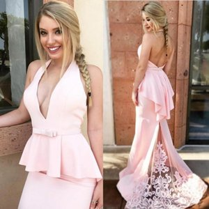 Pink Bridesmaid Dresses 2021 Sexy Backless Chiffon Lace Halter Sweep Train Embroidery Custom Made Plus Size Maid of Honor Gown vestido