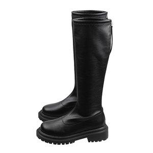 Dlek frauen stiefel black pu leder runde spitze plarform reif reifen knee-high winter plüsch bequeme warme schuhe