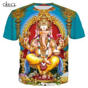 Vente chaude Dieu T-shirt de base Hindouisme Seigneur Ganesha 3D Imprimer Ganesh unisexe T-shirts Femmes Hommes T-shirt d'été Hauts Streetwear Vêtements de sport