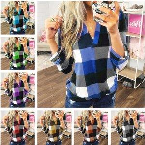 Plus Size femmes Plaid Blouse T-shirt printemps manches longues col V blouses T-shirt de dames de conception Mode Chemises Pull à carreaux Top Les vêtements INS