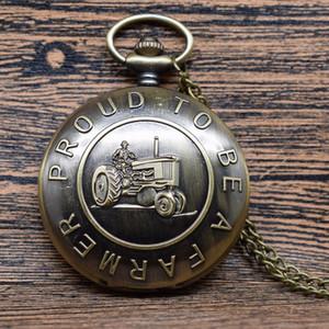 Новая мода Тракторные дизайн кварцевые часы кулон Гордый быть фермером Bronze карманные часы ожерелье